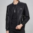 GIORGIO ARMANIアルマーニ ジャケット 偽物メンズ魅力レザージャケットクラシックデザインシンプル男性ブラックコート
