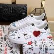 Dolce&Gabbanaドルガバ スニーカー コピーハートパッチカーフスキン製ロートップメンズシューズ